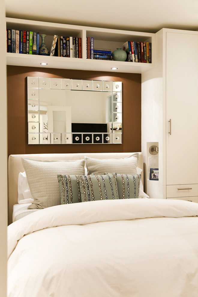 Example of a trendy bedroom design in Seattle with brown walls