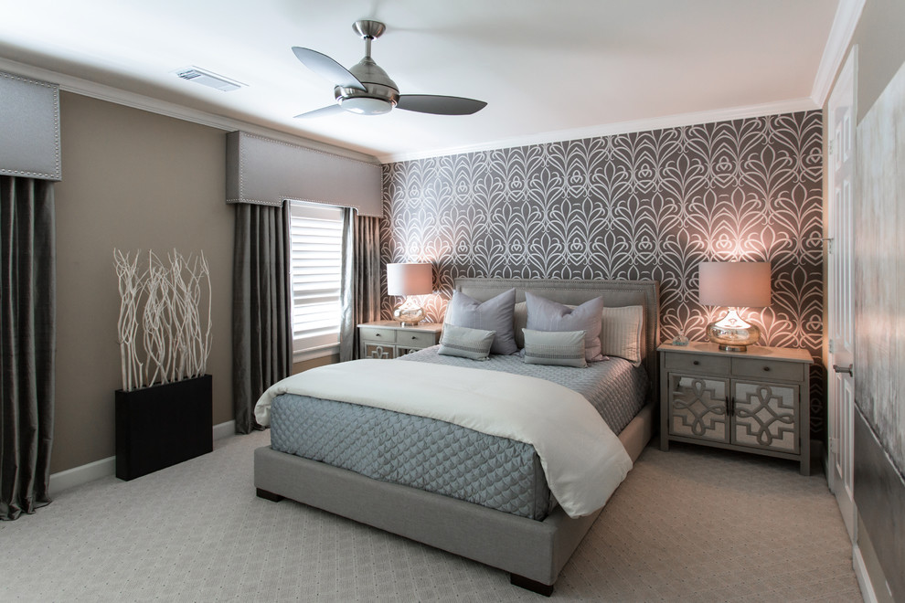 Inspiration for a mid-sized transitional guest carpeted bedroom remodel in Houston with gray walls