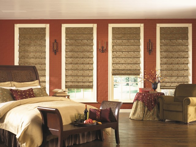 Bali custom tailored roman shades mediterranean for Shades for bedroom windows