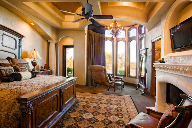 Waterfront luxury home lake travis mediterranean for Mediterranean master bedroom