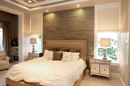 Bedroom Wall with MDF Wood Panelling