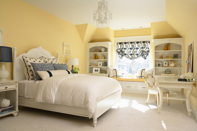 Traditional carpeted bedroom idea in Minneapolis with yellow walls