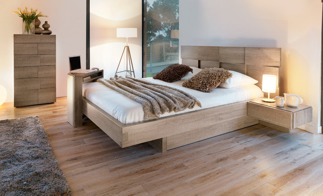 Mervent smoked oak modern bedroom toronto by - Tete de lit avec chevet suspendu ...