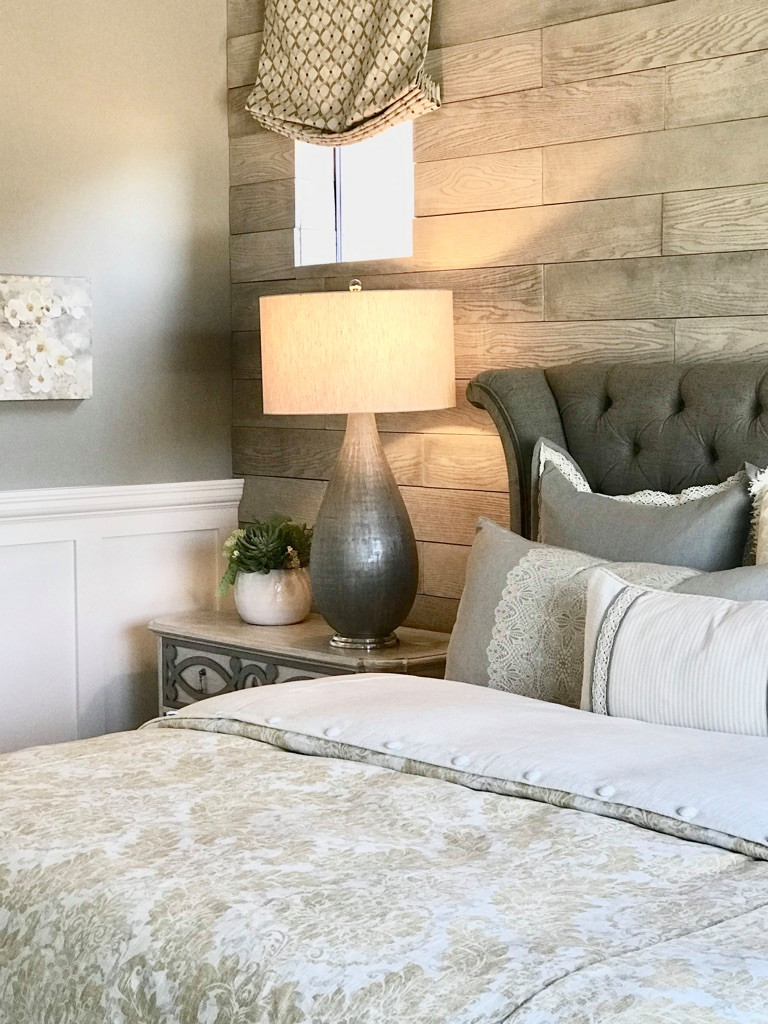Bedroom - mid-sized transitional master porcelain tile and gray floor bedroom idea in Phoenix with gray walls