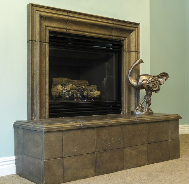 Metallic Fireplace traditional-bedroom