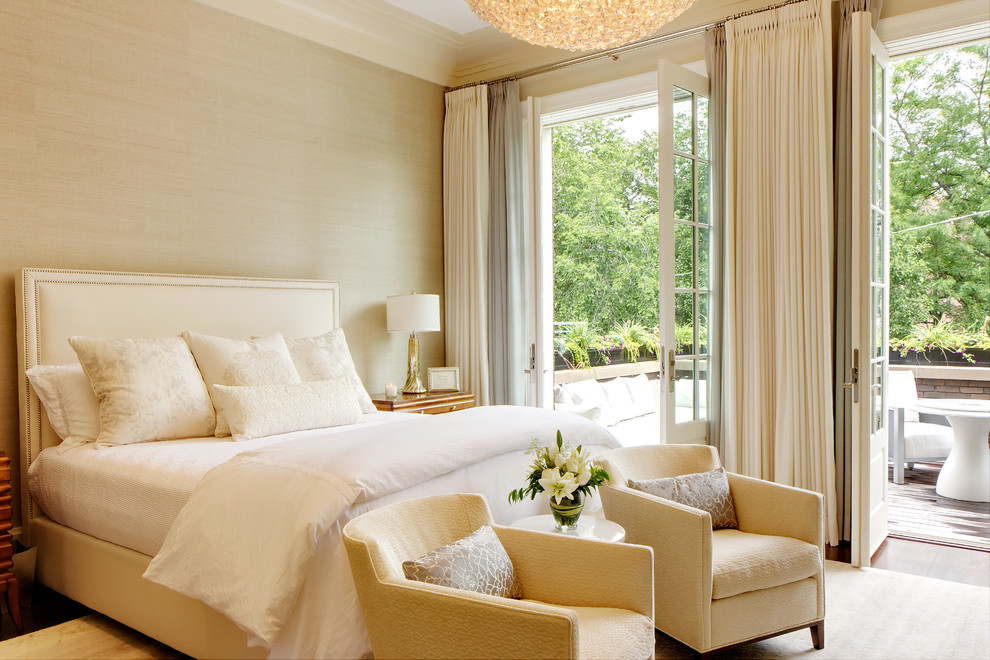 Bedroom - mid-sized transitional master medium tone wood floor bedroom idea in Chicago with beige walls