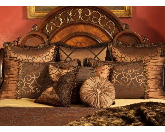 "Bedding 2013 - Chocolate and copper color Swirl Damask with a touch a Fur.  Enhanced with various styles of trim. This King Duvet Bed set includes a Duvet Cover, three 26"" x 26"" Euro Shams, two King Shams 21"" x 36"" and Three decorative throw pillows. (1- 18"" x 24"", 1' Round and 1- 18"" x 18"")."