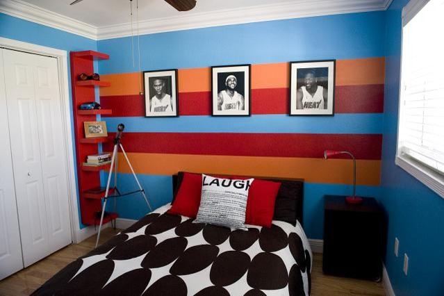 Miami Heat Inspired Boys Bedroom Contemporary Bedroom