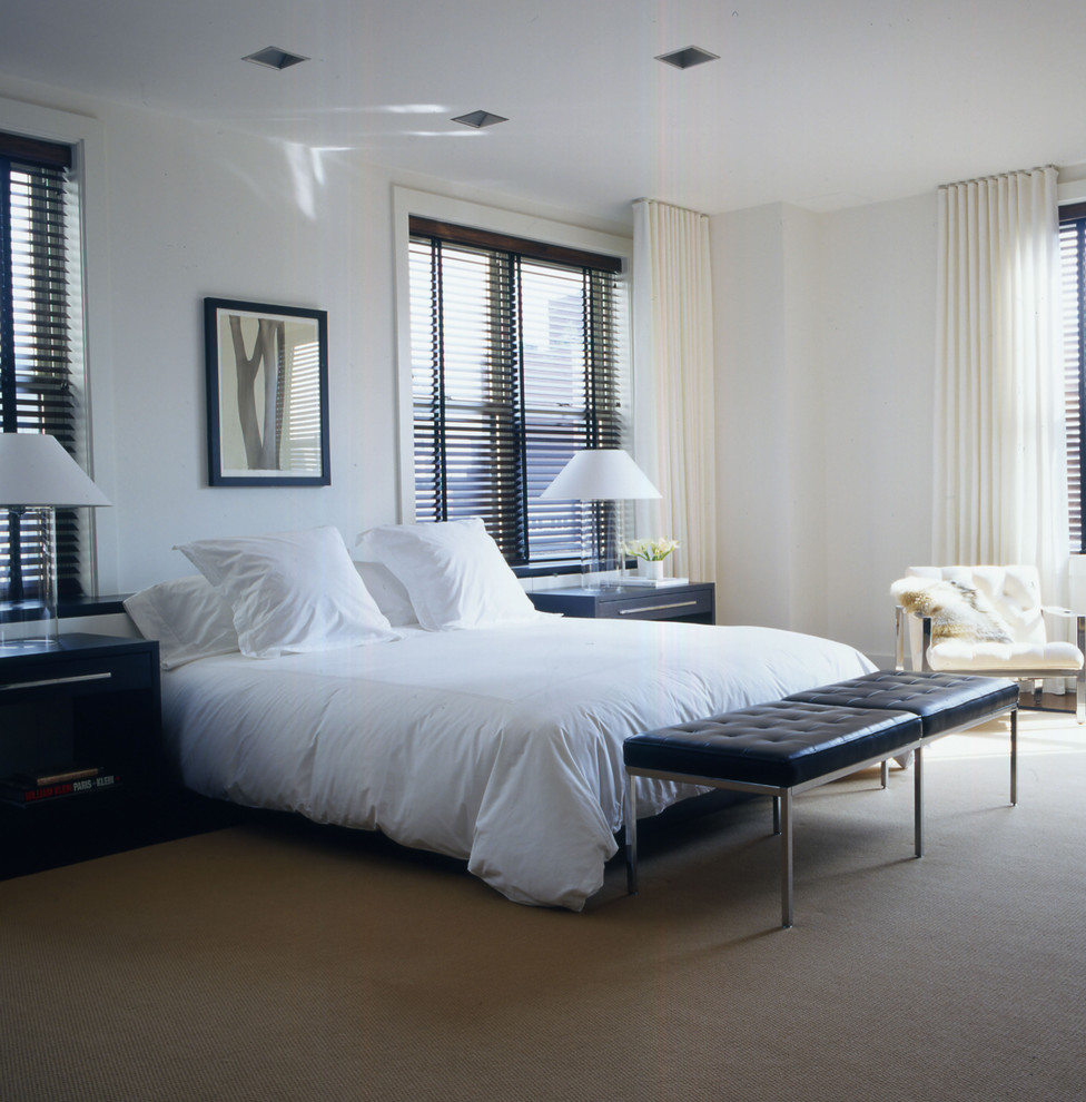 Bedroom - large contemporary master carpeted and beige floor bedroom idea in New York with white walls and no fireplace