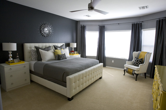 Contemporary carpeted bedroom idea in Salt Lake City with black walls. Charcoal Grey Coverlet Bedding   Houzz