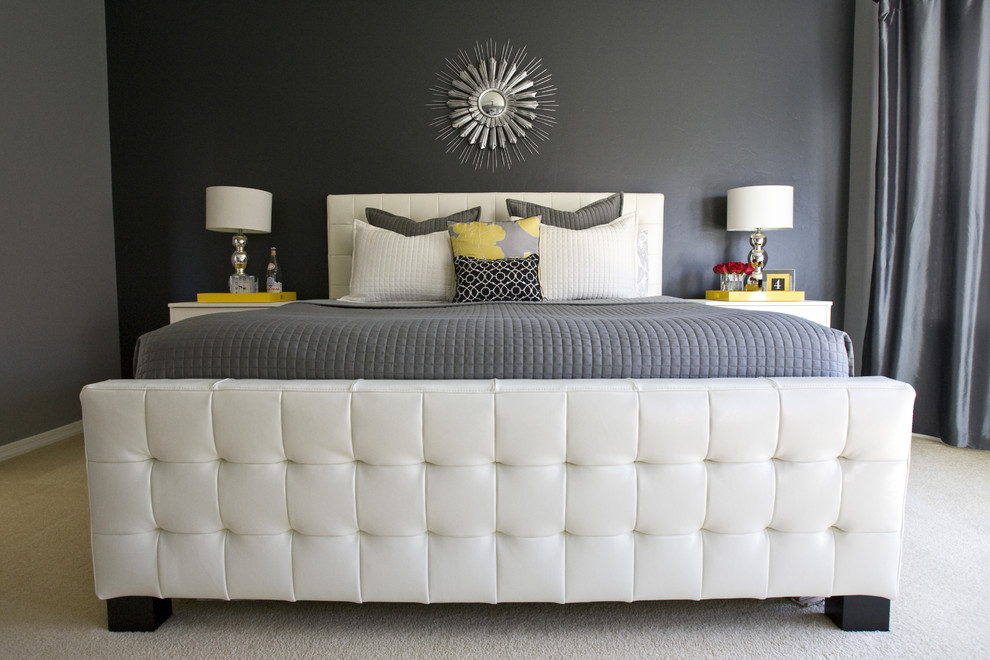 Example of a transitional carpeted bedroom design in Salt Lake City with gray walls
