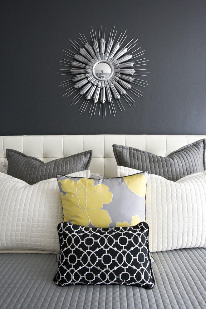 Example of a trendy bedroom design in Salt Lake City with gray walls