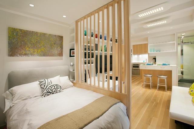 Bedroom Small Scandinavian Master Light Wood Floor And Brown Idea In New York