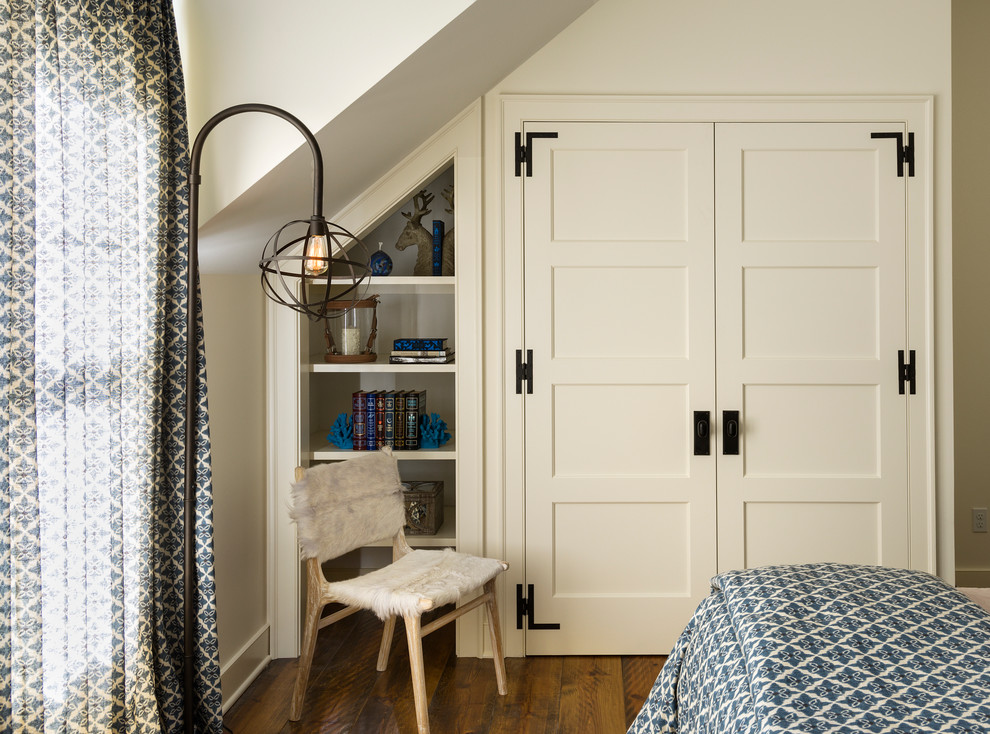 Farmhouse dark wood floor bedroom photo in New York with white walls