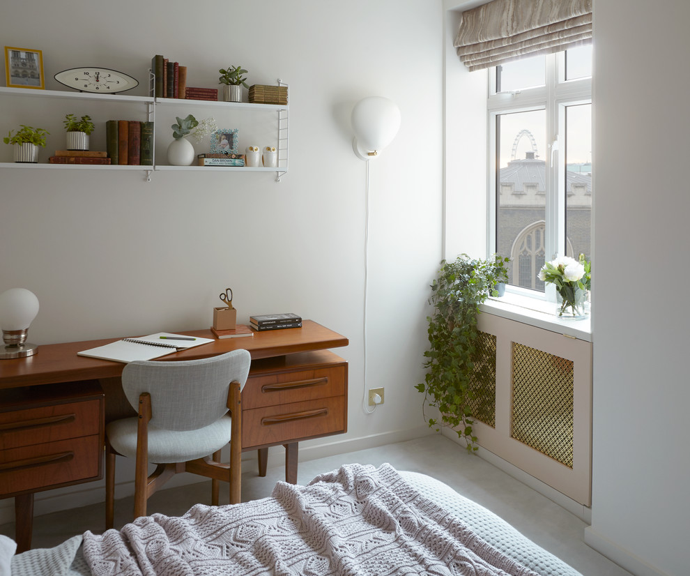 Bedroom - small scandinavian master carpeted bedroom idea in London with white walls