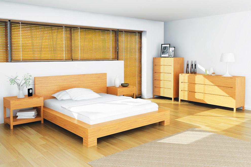 Mid-century modern bedroom photo in New York
