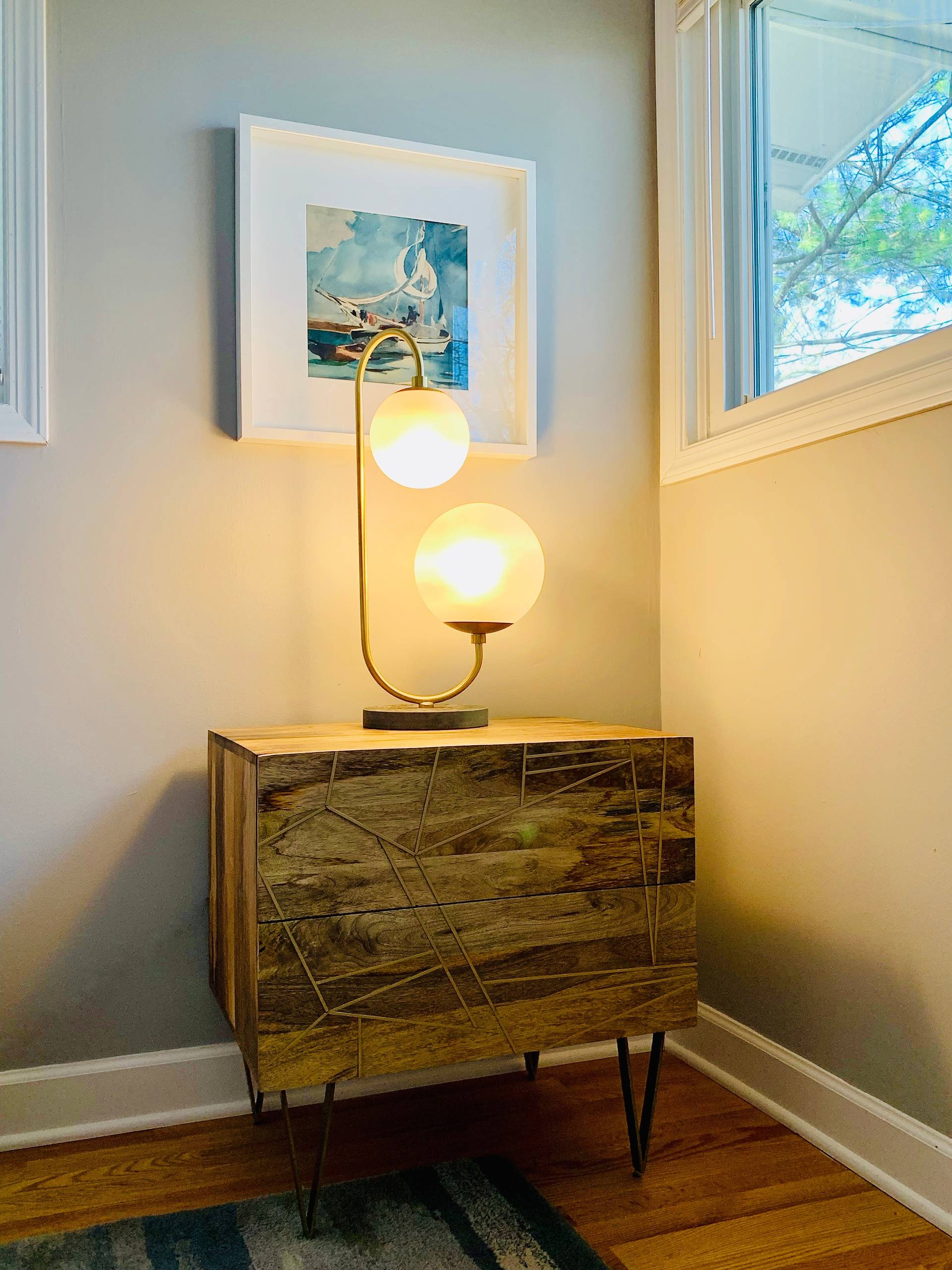 Mid-Century Modern Styled Bedside with Playful Details