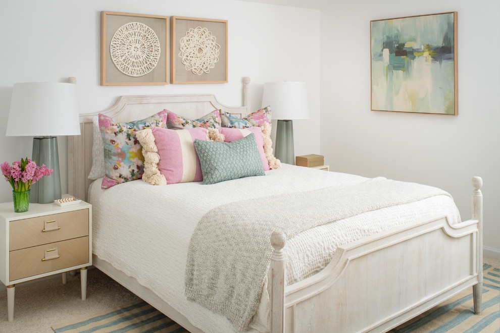 Small beach style guest carpeted and beige floor bedroom photo in Raleigh with white walls and no fireplace