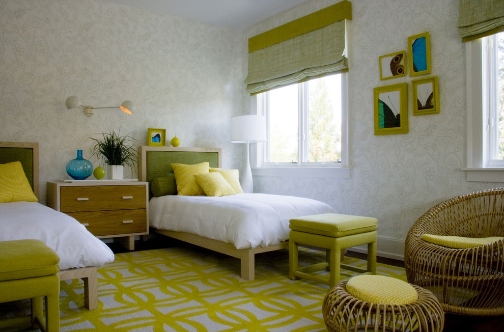 Mid-century modern guest bedroom photo in New York with white walls and no fireplace