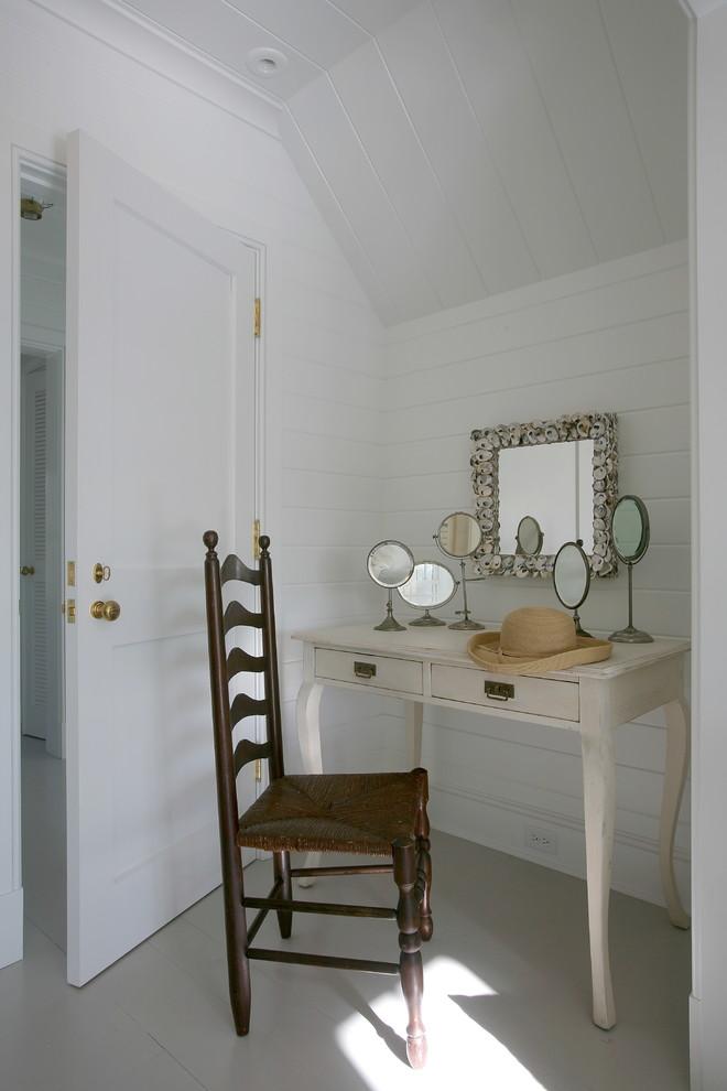 Bedroom - coastal bedroom idea in Boston with white walls