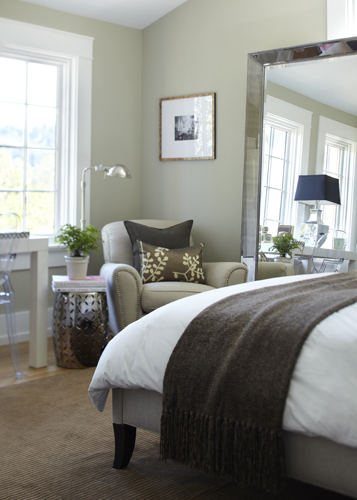 Transitional bedroom photo in San Francisco with gray walls