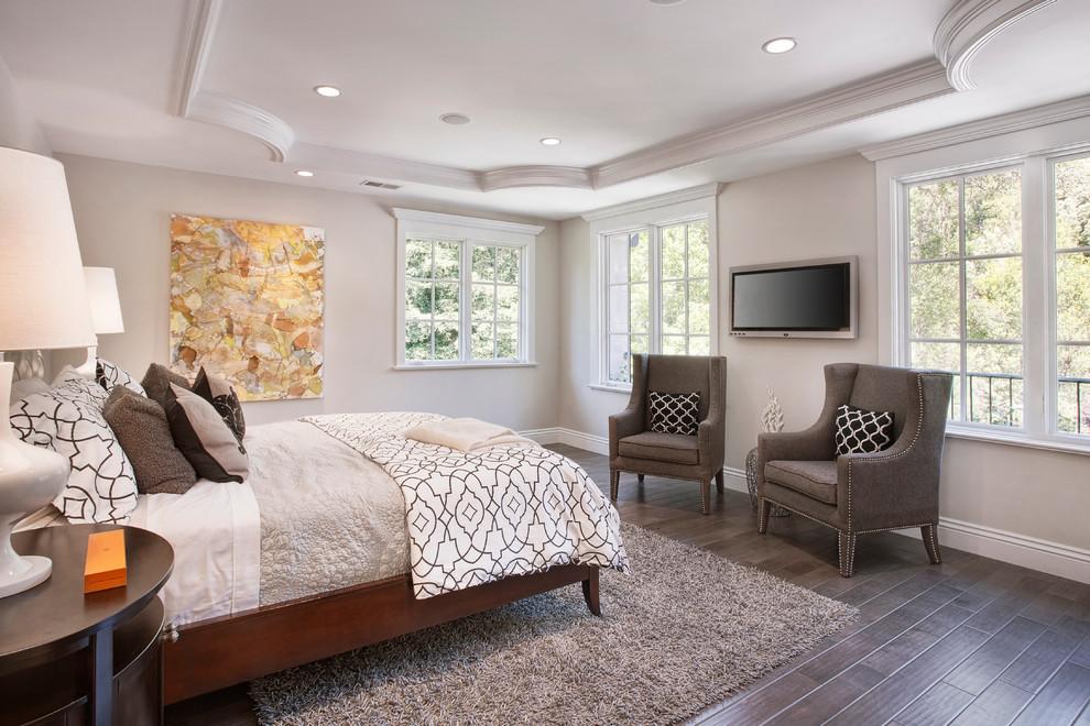 Example of a classic dark wood floor and brown floor bedroom design in San Francisco with gray walls