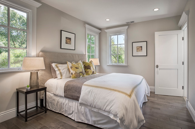 Elegant Dark Wood Floor Bedroom Photo In San Francisco With Gray Walls