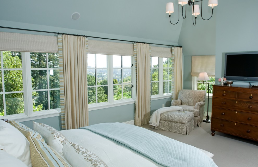 Mid-sized elegant master carpeted and gray floor bedroom photo in San Francisco with blue walls and no fireplace