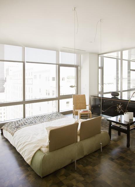Millennium Tower Loft-Master bedroom contemporary-bedroom