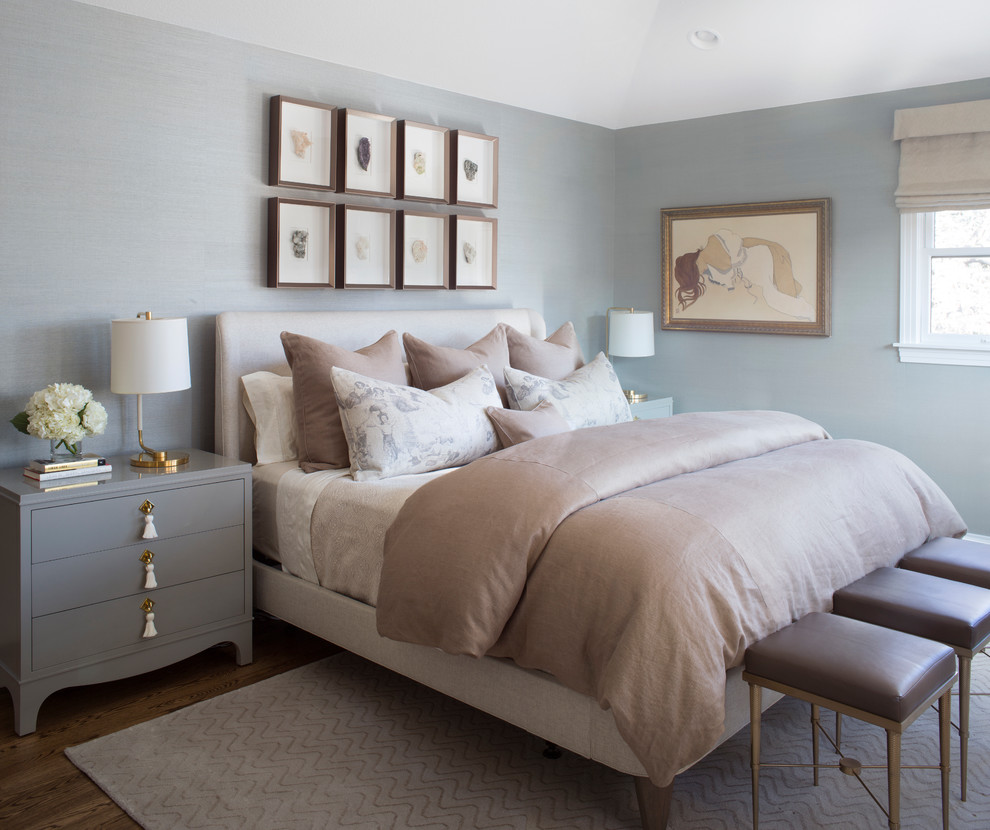 Inspiration for a mid-sized transitional master medium tone wood floor and brown floor bedroom remodel in Denver with blue walls