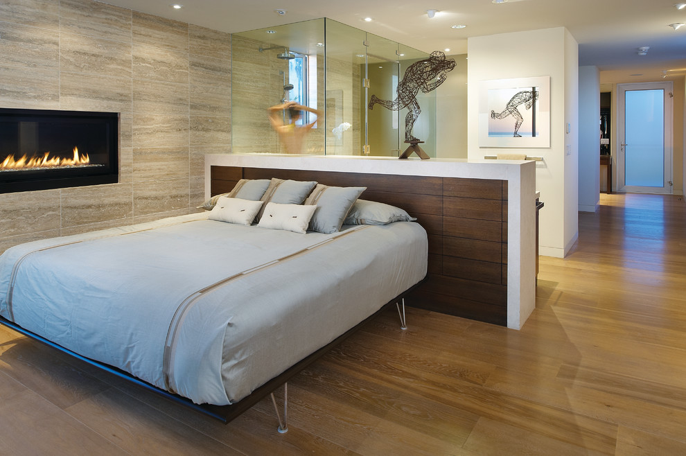 Trendy medium tone wood floor bedroom photo in San Diego with a ribbon fireplace and a stone fireplace