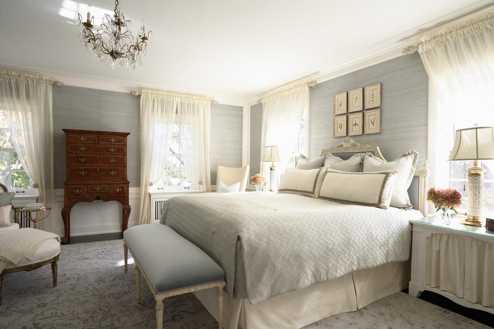 Elegant gray floor bedroom photo in Minneapolis with gray walls