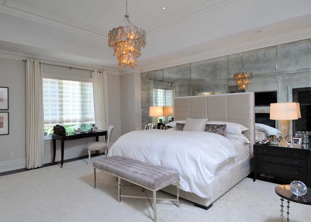 Example of a trendy bedroom design in Toronto with beige walls