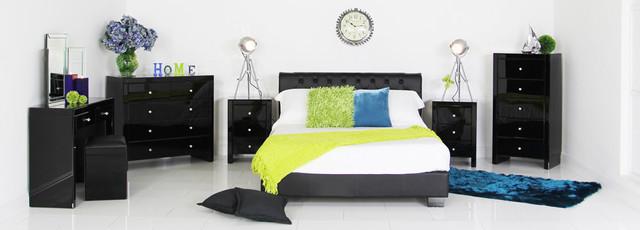 Mirrored Furniture-Black contemporary-bedroom