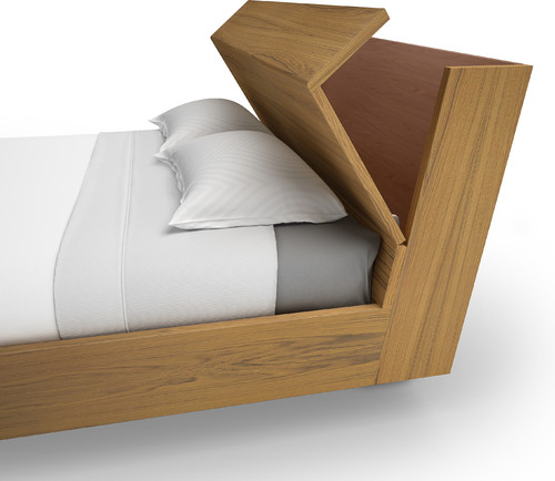 Bed Headboard with a Hinged Lid