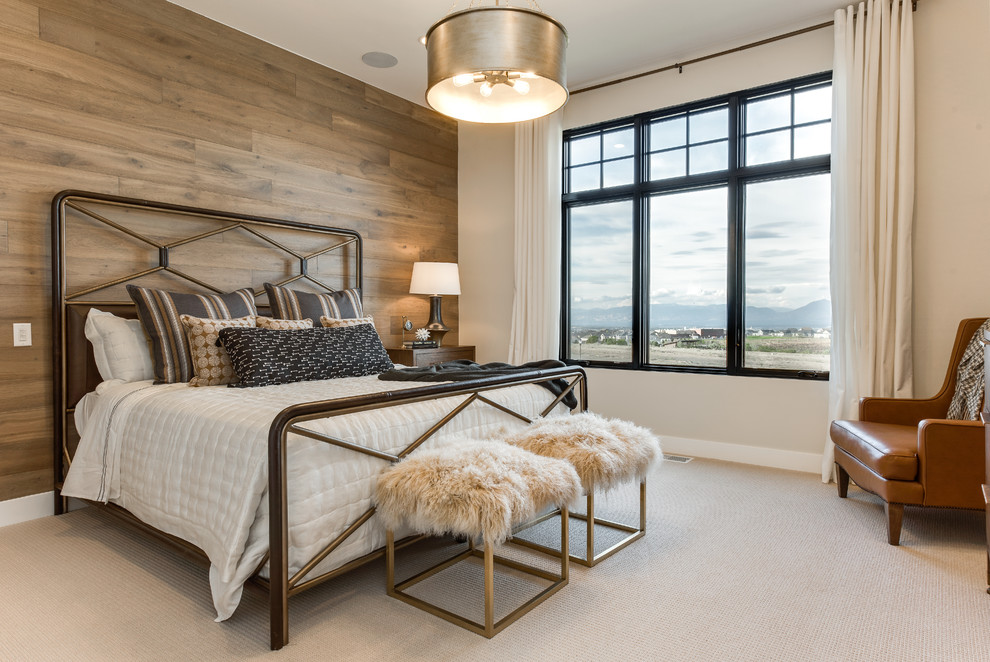 Bedroom - cottage carpeted and beige floor bedroom idea in Salt Lake City with beige walls