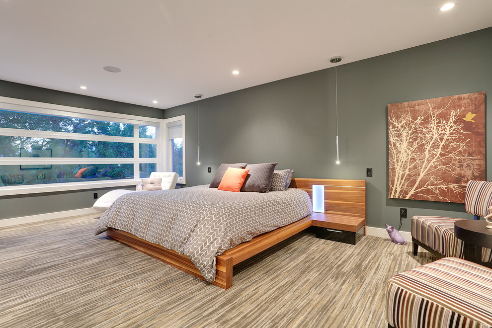 Bedroom - contemporary master carpeted bedroom idea in Calgary with gray walls