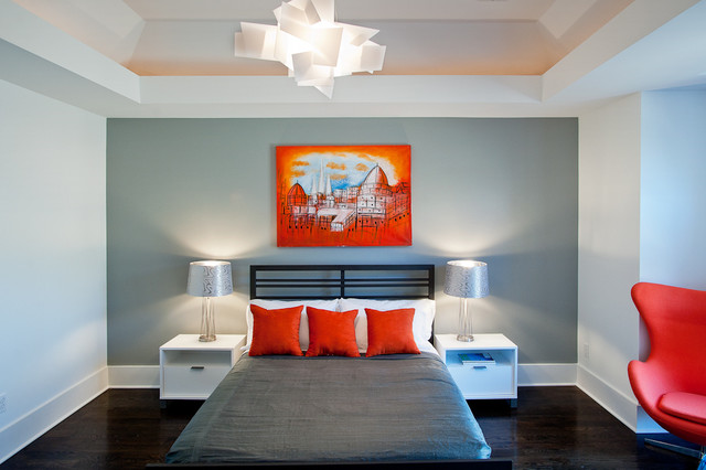 Orange and Gray Modern Bedroom modern-bedroom