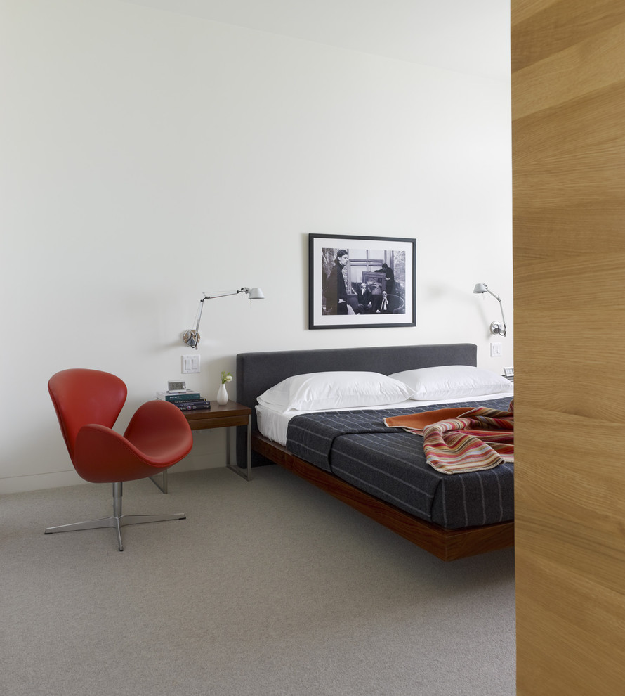 Inspiration for a scandinavian carpeted bedroom remodel in San Francisco with white walls