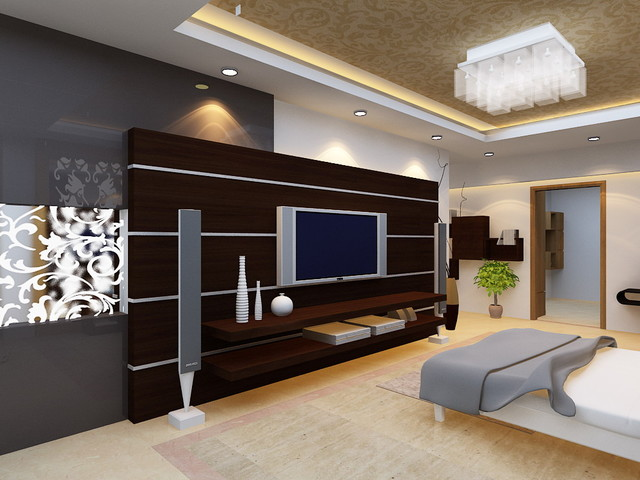 Modern bedroom for Bedroom designs with tv unit