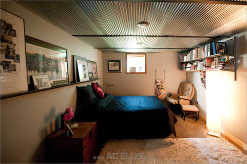love the look how is corrugated steel ceiling panels fastened. Black Bedroom Furniture Sets. Home Design Ideas