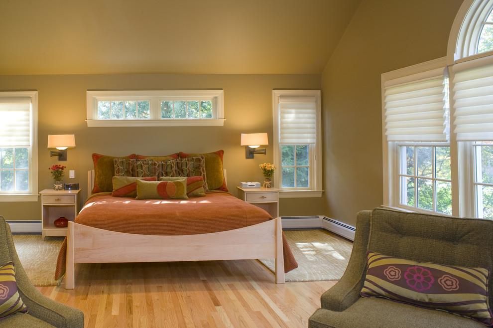 Bedroom - contemporary bedroom idea in Bridgeport with green walls