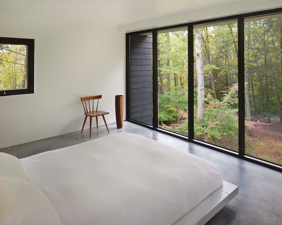 Example of a minimalist bedroom design in Other with white walls
