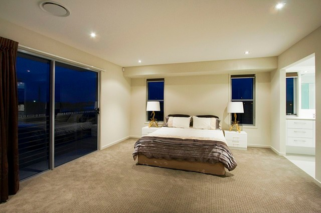 Modern bedroom with aluminum sliding doors modern bedroom sydney