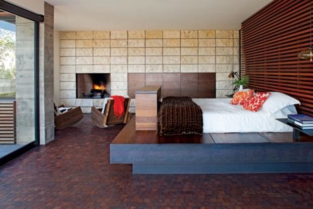 Modern Bedroom with Cozy Fireplace contemporary-bedroom