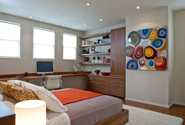 Modern Bedroom With Home Office