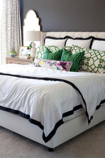 Modern Black White Green Bedroom Modern Bedroom Nashville By Loom Decor Houzz Uk