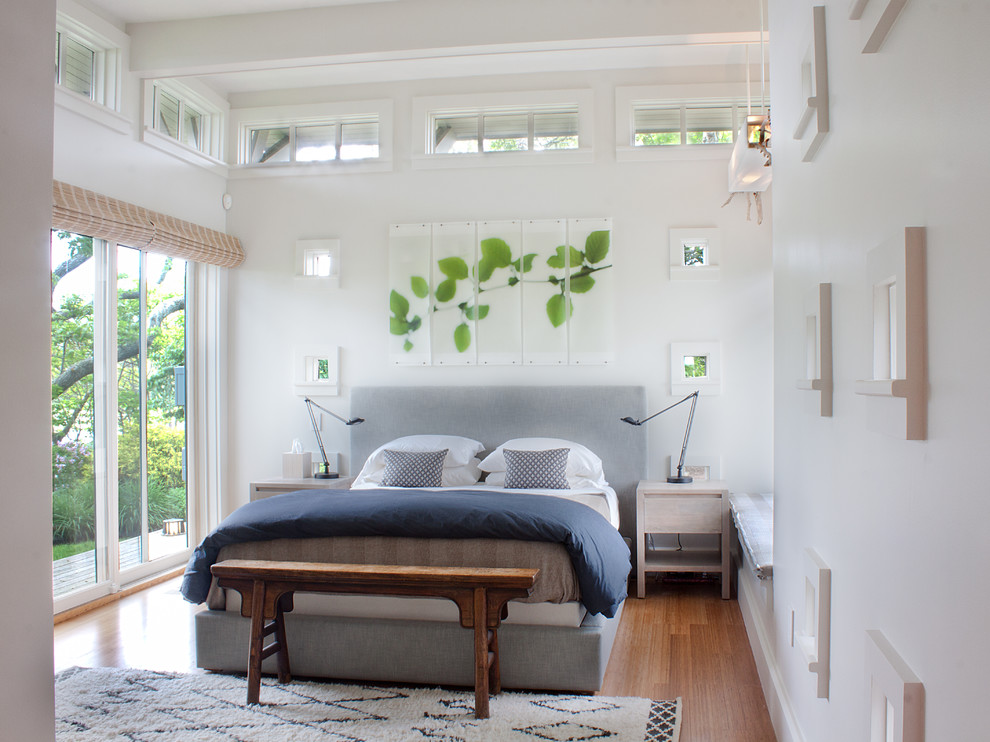 Inspiration for a transitional master medium tone wood floor bedroom remodel in Boston with white walls