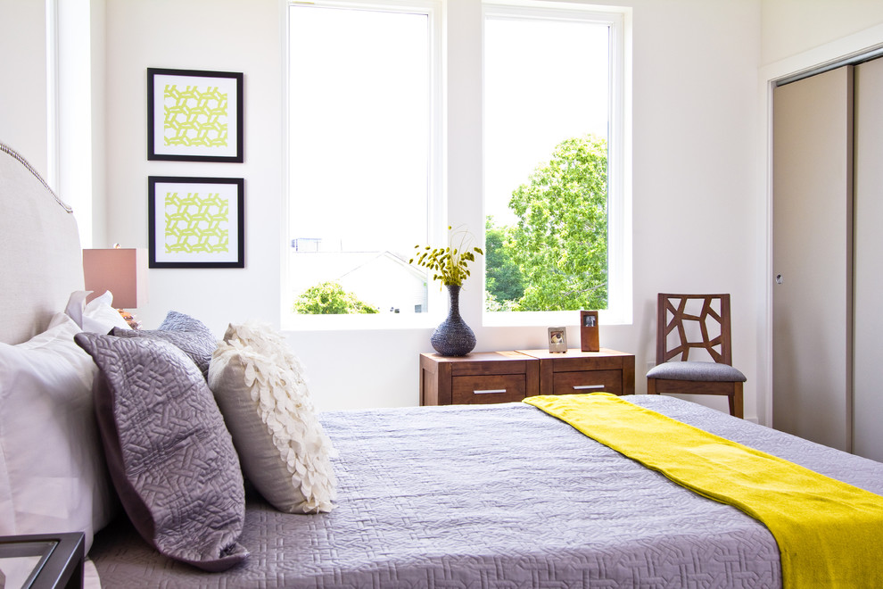Inspiration for a modern bedroom remodel in Other with white walls and no fireplace