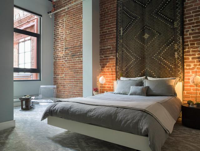 Brick Wall Bedroom   Houzz